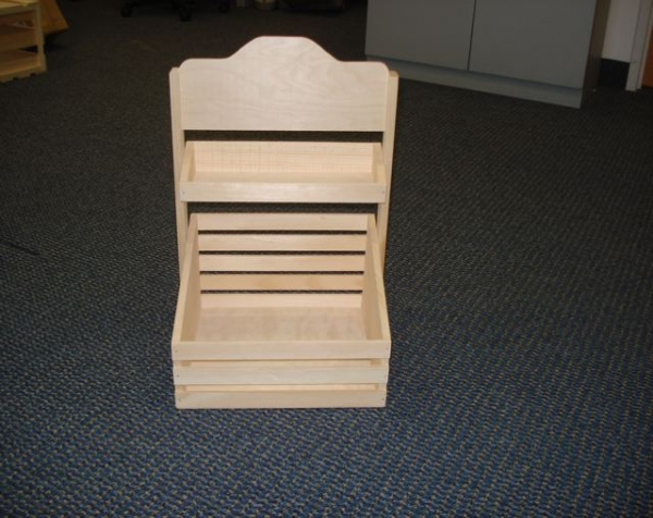 Unfinished custom wooden point of purchase display with two tiers