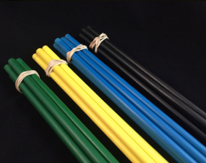 batches of colored dowels